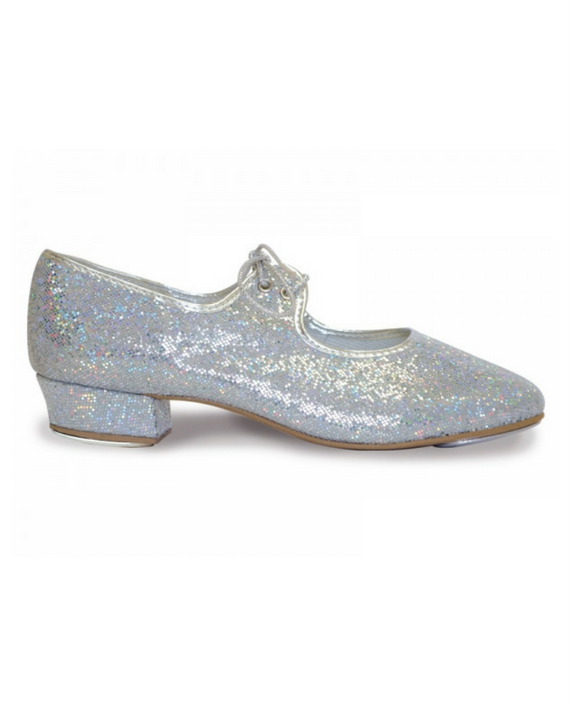4033642c016 Roch Valley Low Heel Girls Silver Hologram Effect Tap Shoes